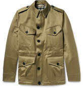Burberry Cotton Satin-twill Field Jacket With Detachable Wool-blend Liner - Army green