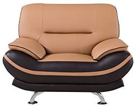 American Eagle Furniture Two-Toned Upholstered Faux Leather Armchair with Added Base Support and Pillow Top Armrests