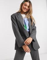 Monki Grace oversized dad blazer in grey