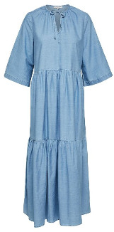 Selected Light Blue Ruffled Maxi Dress - 34