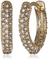 "Judith Jack Golden Class"" Sterling Silver and Gold-Tone Marcasite Crystal Huggie Hoop Earrings"