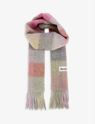 Acne Studios Vally checked wool-blend scarf