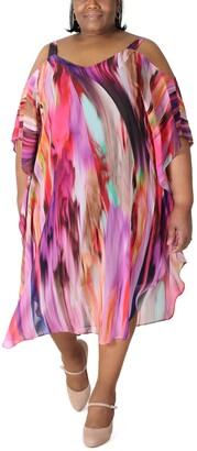Robbie Bee Plus Size Tie-Dyed Cold-Shoulder Maxi Dress