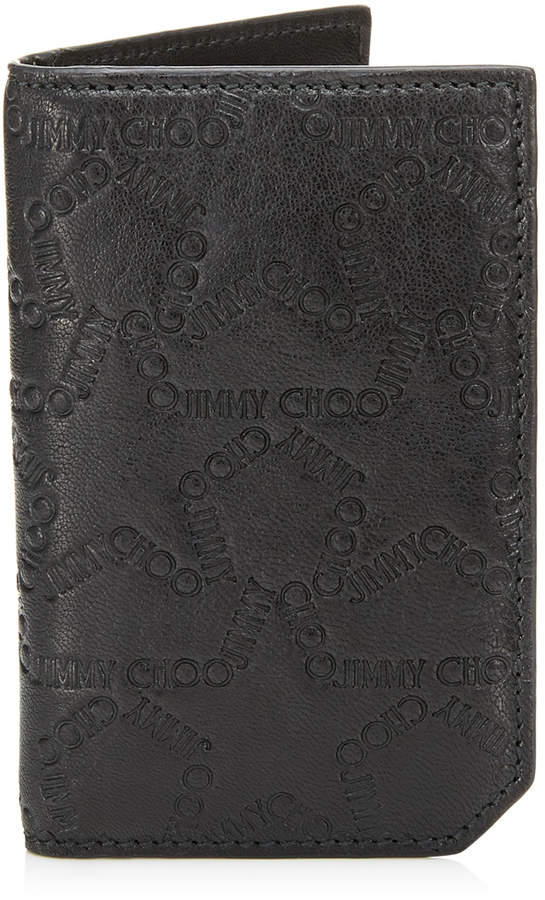 Jimmy Choo CLIFFORD/S Black Leather Small Bifold Wallet with Embossed Star Logo