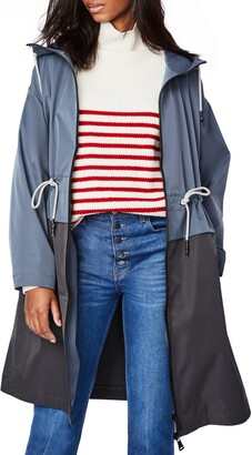 Bernardo Two-Tone Long Hooded Raincoat