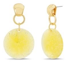 Catherine Malandrino Women's Yellow Glitter Disc Drop Earrings