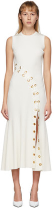 Alexander McQueen White Rib Knit Eyelet Dress