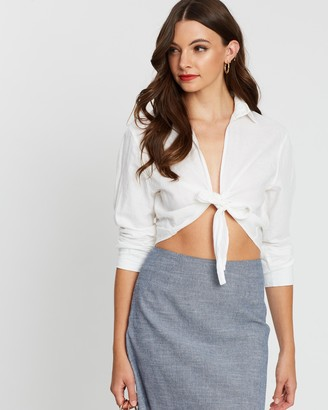 Nude Lucy Blake Linen Tie Front Shirt