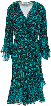 Diane von Furstenberg Carli Ruffled Leopard-print Silk-jersey And Crepon Wrap Dress