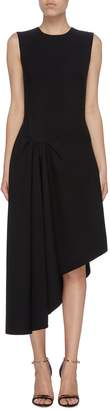Oscar de la Renta Gathered side asymmetric sleeveless dress