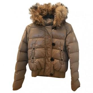 Moncler Fur Hood Camel Coat for Women