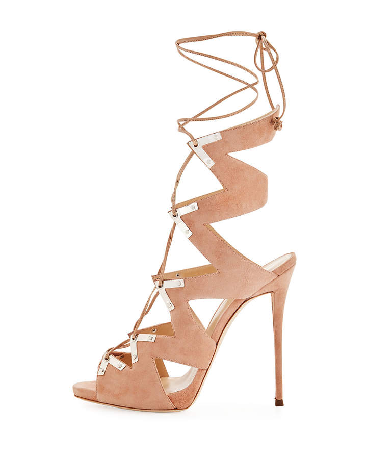 Giuseppe Zanotti Lace-Up Suede High Sandal