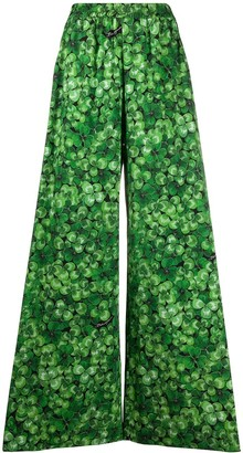Dolce & Gabbana Clover-Print Wide-Leg Trousers