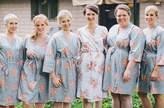 Etsy Silver Faded Flowers Bridesmaids Robe Sets Kimono Robes. Bridesmaids gifts. Getting ready robes. Bri