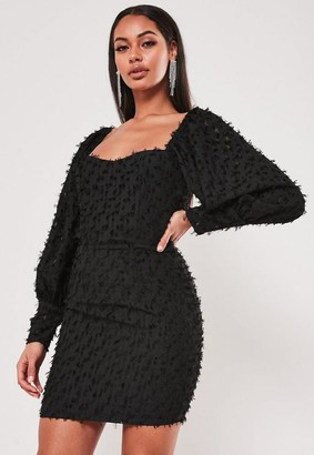 Missguided Black Textured Puff Sleeve Low Back Mini Dress