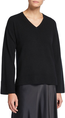 Neiman Marcus Cashmere V-Neck Sweater with Honeycomb Trimmed Sleeves