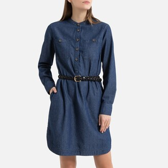 La Redoute Collections Denim Mini Shift Dress with Long Sleeves