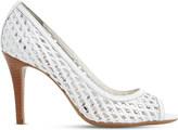 Dune Claudette woven lattice leather court shoes