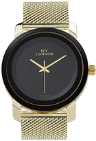 Geneva Platinum Gold & Black Mesh-Strap Watch