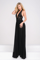 Jovani Halter Neck Open Back Lace Bodice Prom Dress JVN33922