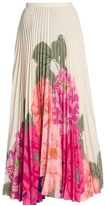Valentino Camelia Plisse Pleated Floral Silk Maxi Skirt