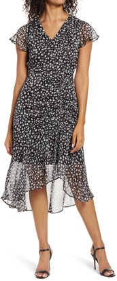 Sam Edelman Printed Ruched Midi Dress