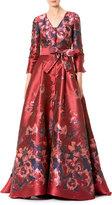 Carolina Herrera 3/4-Sleeve Floral Tie-Waist Ball Gown