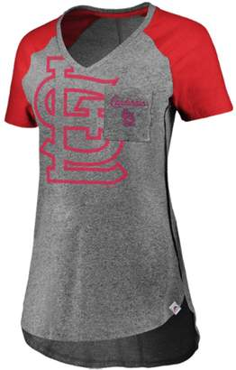 Majestic Women's Gray/Red St. Louis Cardinals Static Pocket Raglan V-Neck T-Shirt