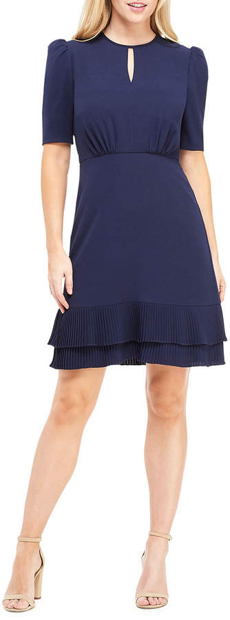 Maggy London Tiered Ribbed-Hem Fit-and-Flare Dress