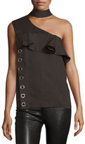 CNC Costume National Mock-Neck One-Shoulder Top, Cocoa