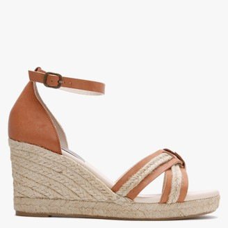 Carmen Saiz Tan Leather Cross Strap Wedge Espadrille Sandals