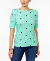 Charter Club Petite Cotton Printed Boat-Neck Top, Only at Macy's