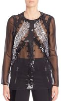 Altuzarra Long Sleeve Sequined Blouse
