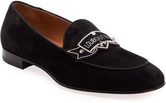 Christian Louboutin Men's Magenile Suede Logo Loafers