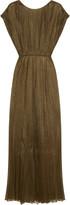Vionnet Pleated metallic mesh maxi dress