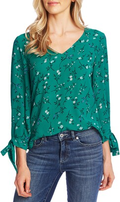 CeCe Tossed Floral Tie Cuff Blouse