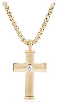 David Yurman Streamline® Cross Tag With Diamonds In 18K Gold, 28.5Mm