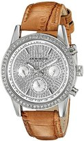 Akribos XXIV Women's AK871SSBR Crystal Accented Two Time Zone Pave Dial Silver Tone and Brown Leather Strap Watch