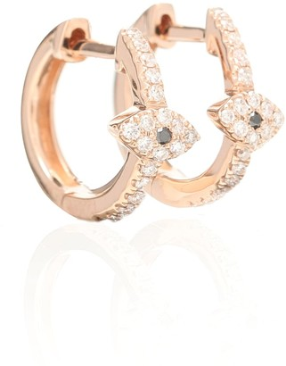 Jacquie Aiche Pave Eye Mini 14kt rose gold hoop earrings with diamonds