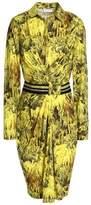 Vionnet Belted Draped Printed Cotton-Blend Shirt Dress
