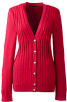 Lands' End Women's Cotton V-neck Cable Cardigan Sweater-Bright Scarlet