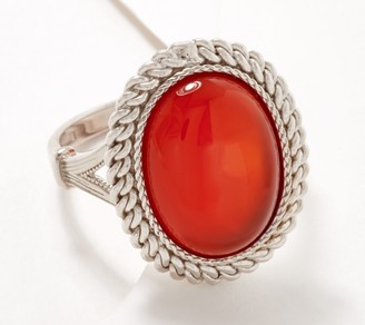 Sterling Silver Oval Gemstone Ring with Rope Border by Silver Style