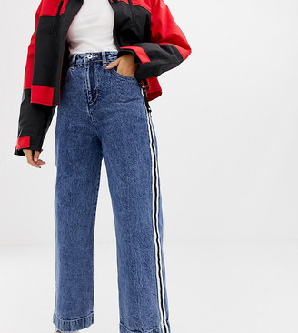 Collusion x007 wide leg jean in mid wash blue with side stripe