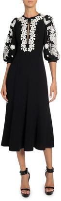 Andrew Gn Floral Applique Crepe Midi Dress