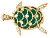 Hammerman Chrysoprase and Diamond Turtle Brooch