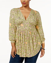 Melissa McCarthy Seven7 Trendy Plus Size Printed Babydoll Top