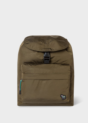 Paul Smith Men's Khaki 'Zebra' Logo Canvas Backpack With Spotted Details