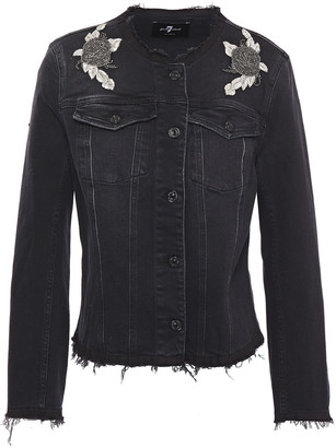 7 For All Mankind Frayed Appliqued Embellished Denim Jacket