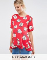 Asos T-Shirt in Floral with Ruffle Hem