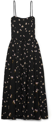 Vince Belted Floral-print Crinkled-crepe Midi Dress